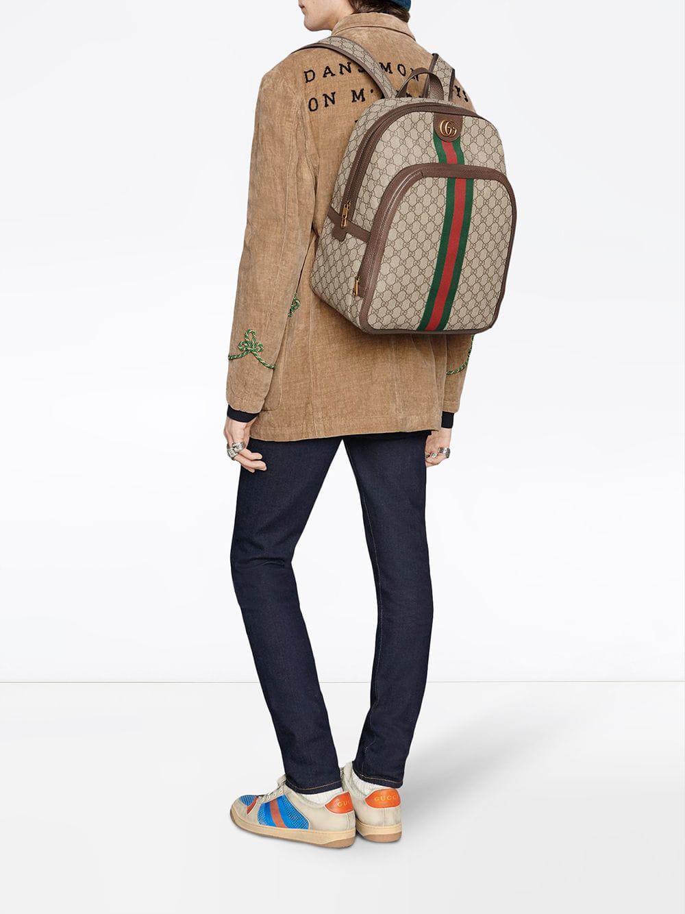 Lyst - Sac à dos Ophidia GG medium Gucci pour homme en coloris Marron 133640b690c