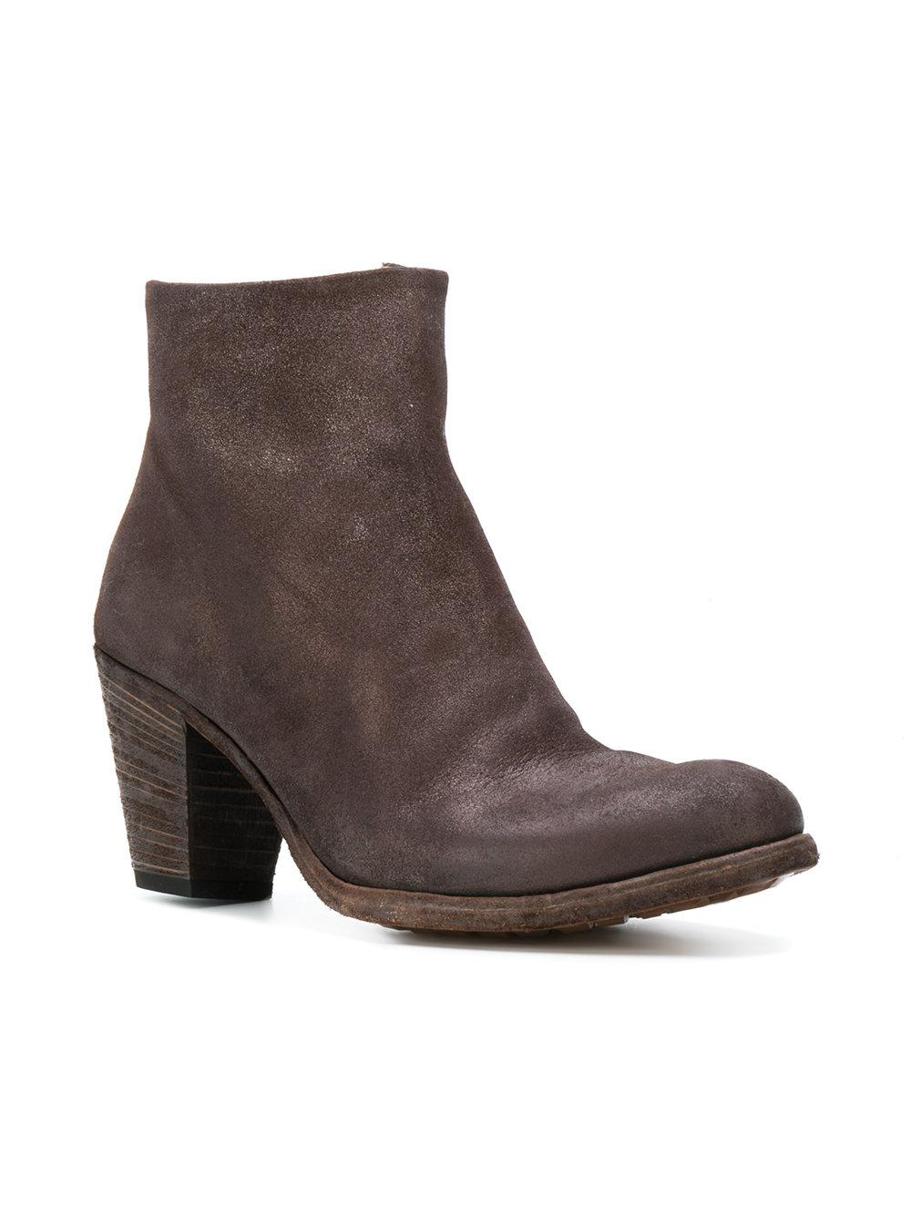 Officine Creative Leather Plaisir Ankle Boots in Brown