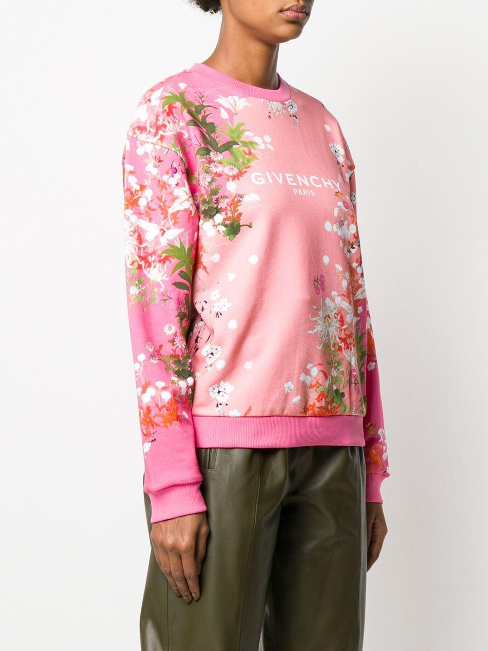 Sweat à logo et fleurs Coton Givenchy en coloris Rose - 13 % de réduction