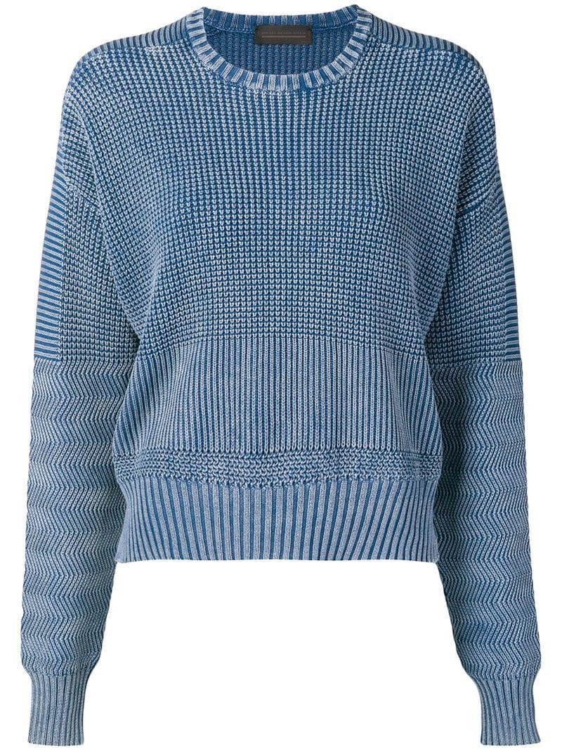a2827508e7 Lyst - Diesel Black Gold Boxy Pullover In Military-stitch Cotton in Blue