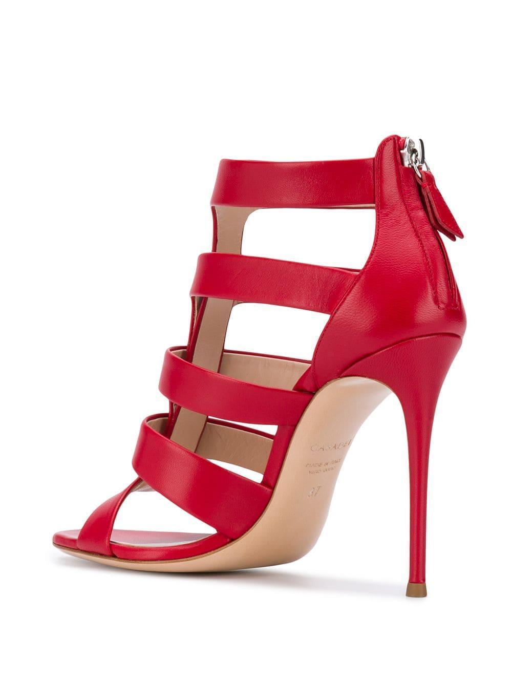 Sandales à design à brides Cuir Casadei en coloris Rouge
