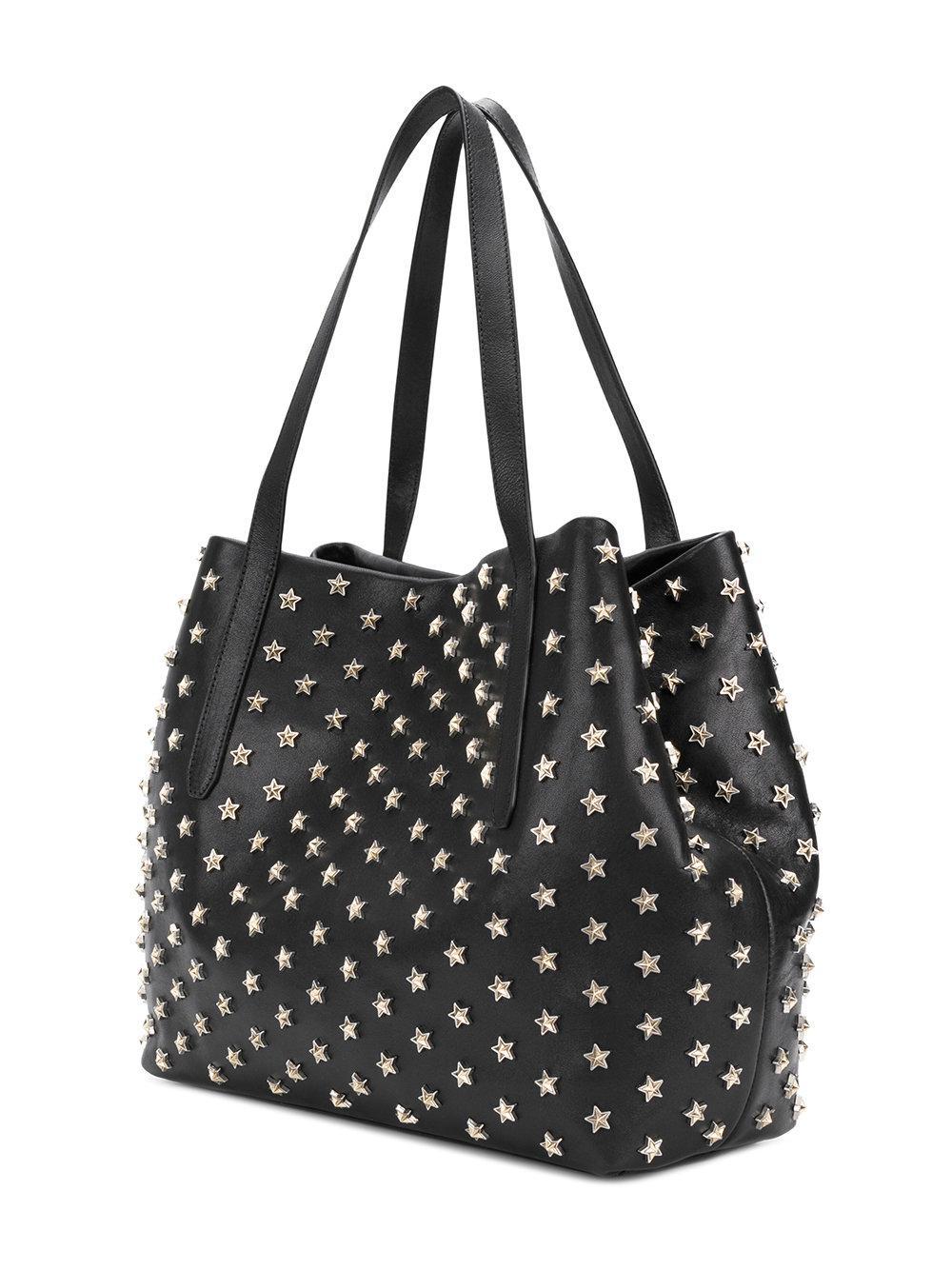 Jimmy Choo Leather Sofia Medium Star Studded Tote Bag in Black