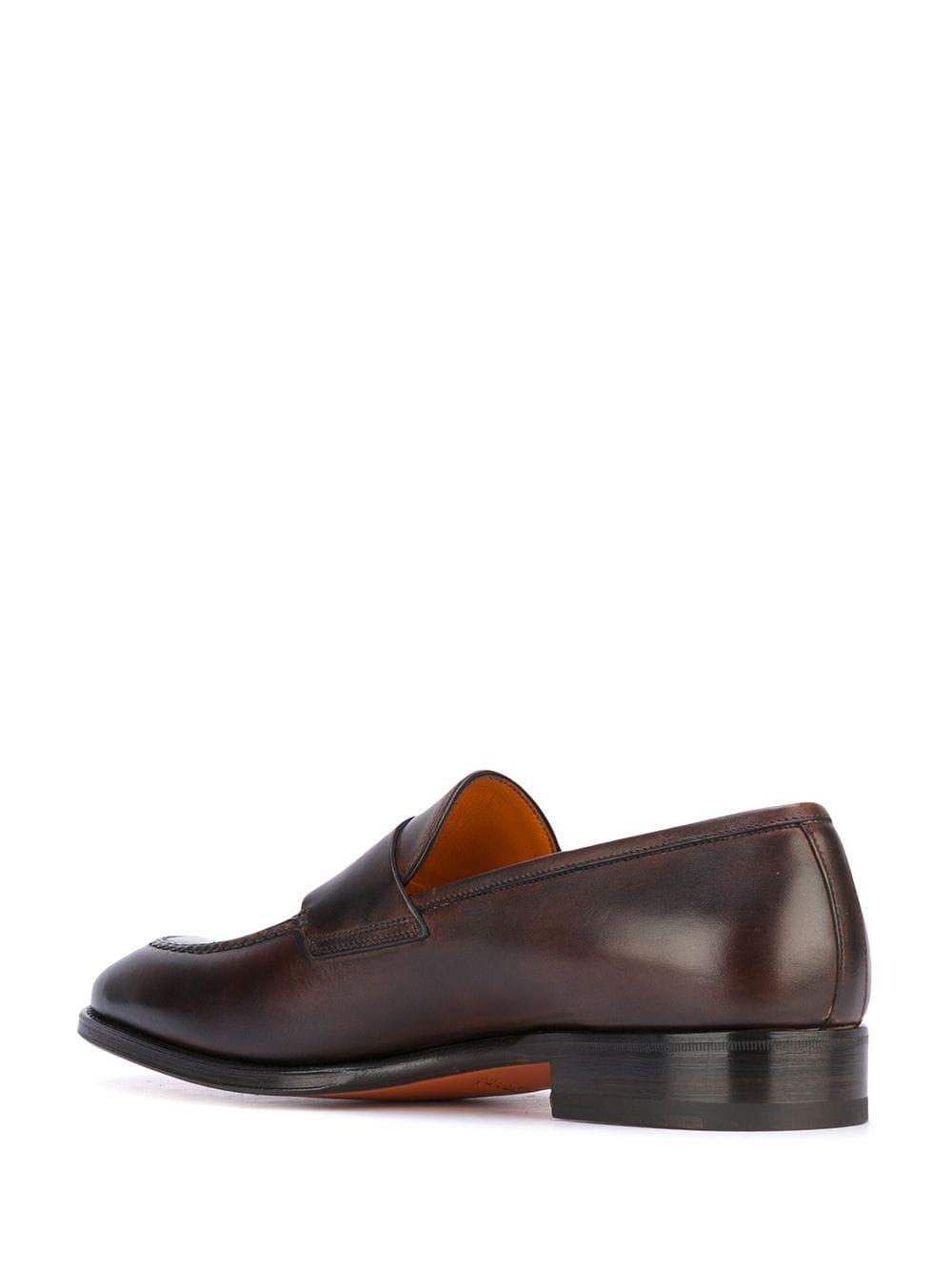Santoni Leather Classic Loafers in Brown for Men