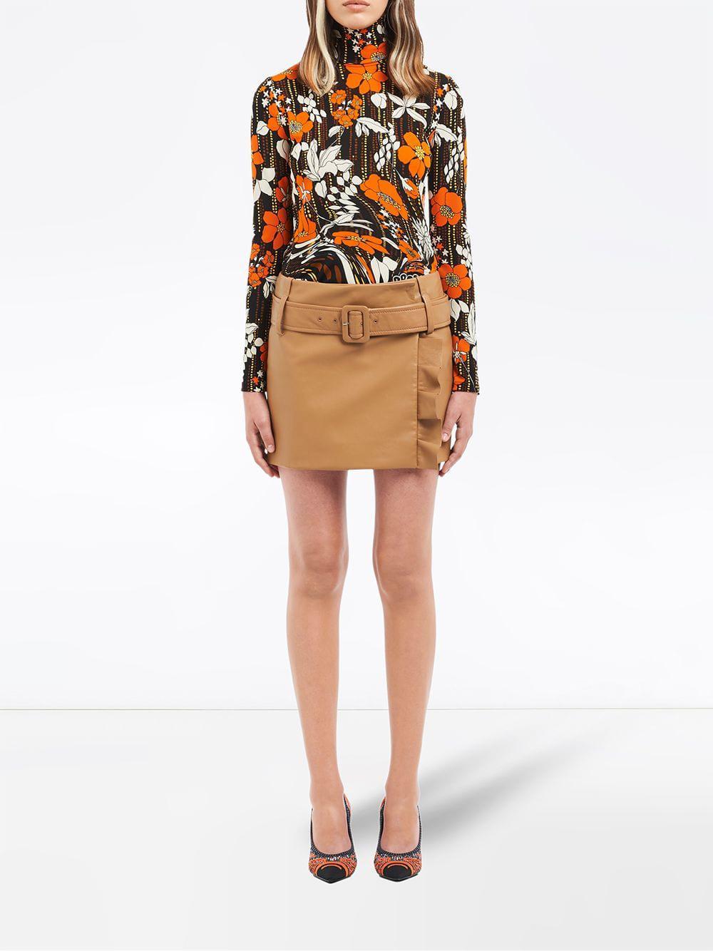 38d9f6ee71ff3 Lyst - Prada Envelope Ruffled Leather Skirt in Brown