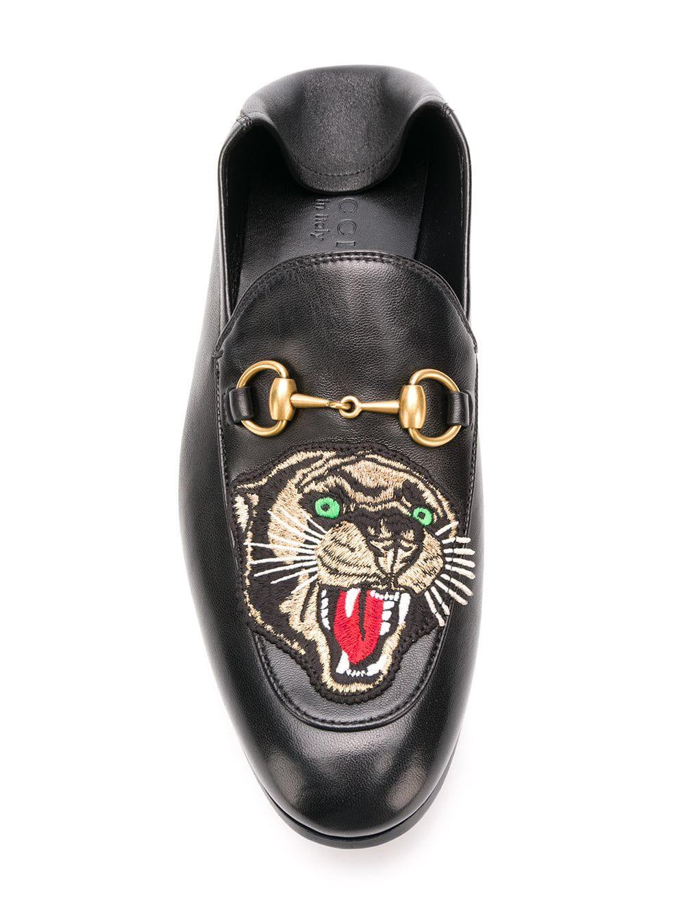 46e60c00fc3 Lyst - Gucci Panther Embroidered Horsebit Loafers in Black for Men