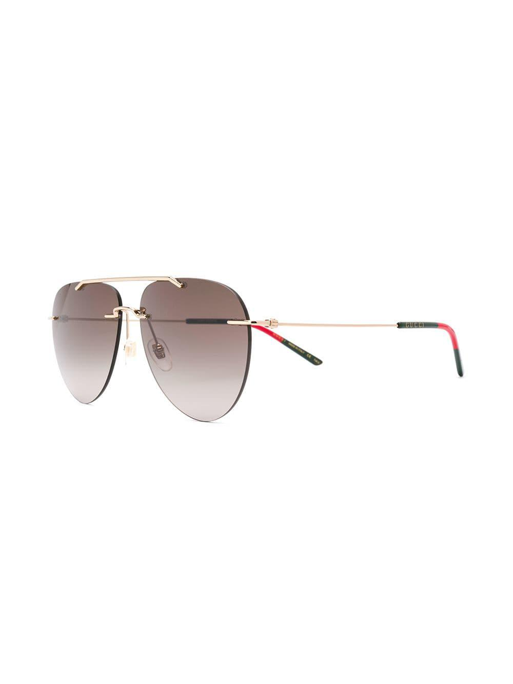f3dfc6fc16be9 Gucci Aviator Style Sunglasses in Metallic for Men - Lyst