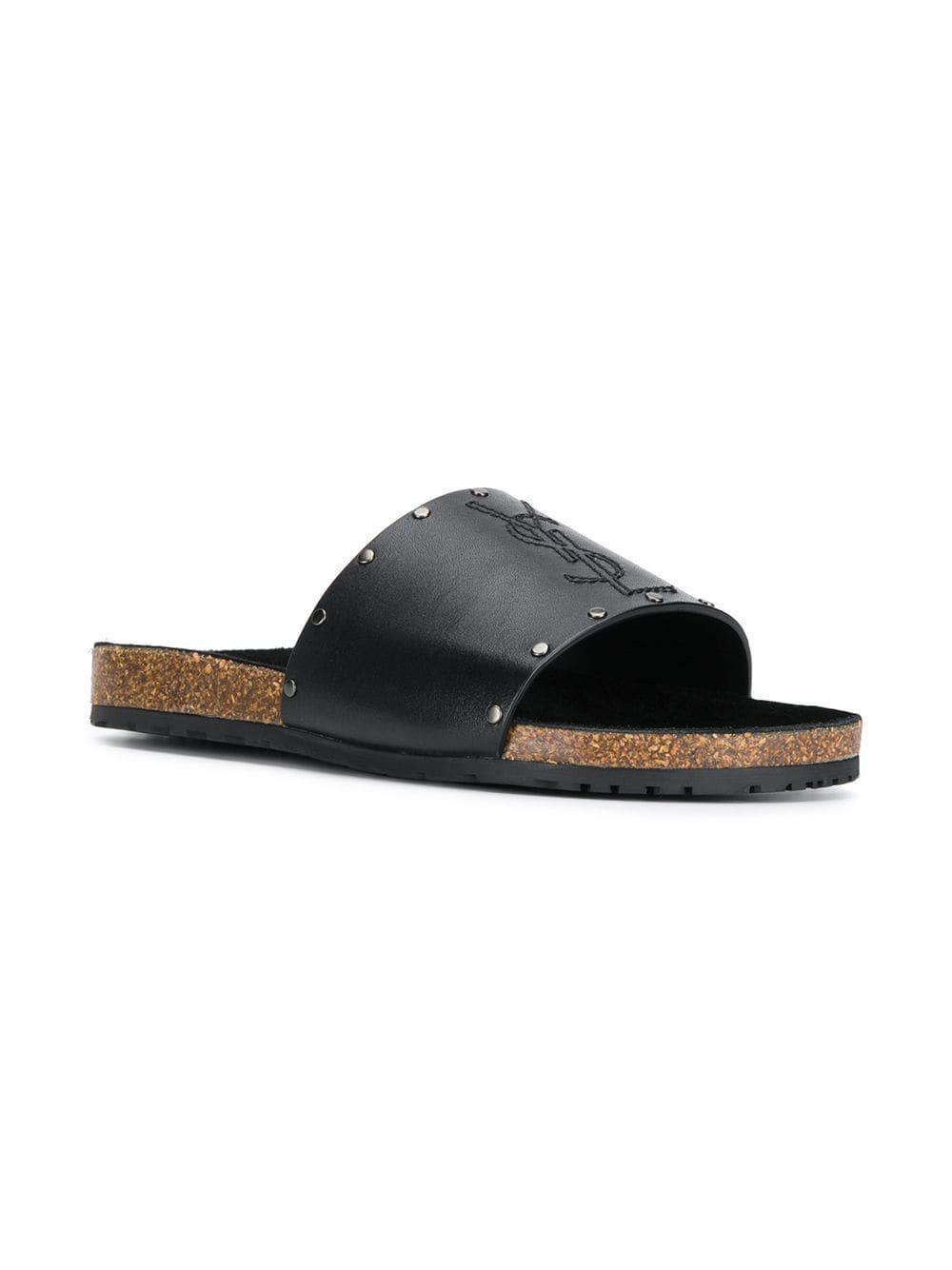 c1c737f02865 Lyst - Saint Laurent Jimmy Slide Sandals in Black for Men