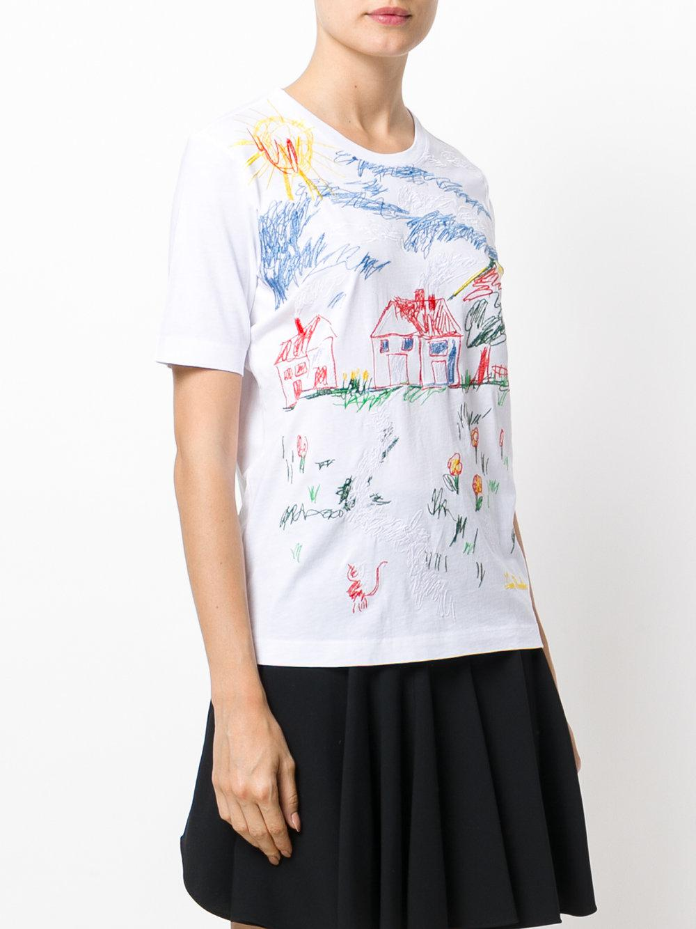 love moschino scribble print t shirt in white lyst. Black Bedroom Furniture Sets. Home Design Ideas