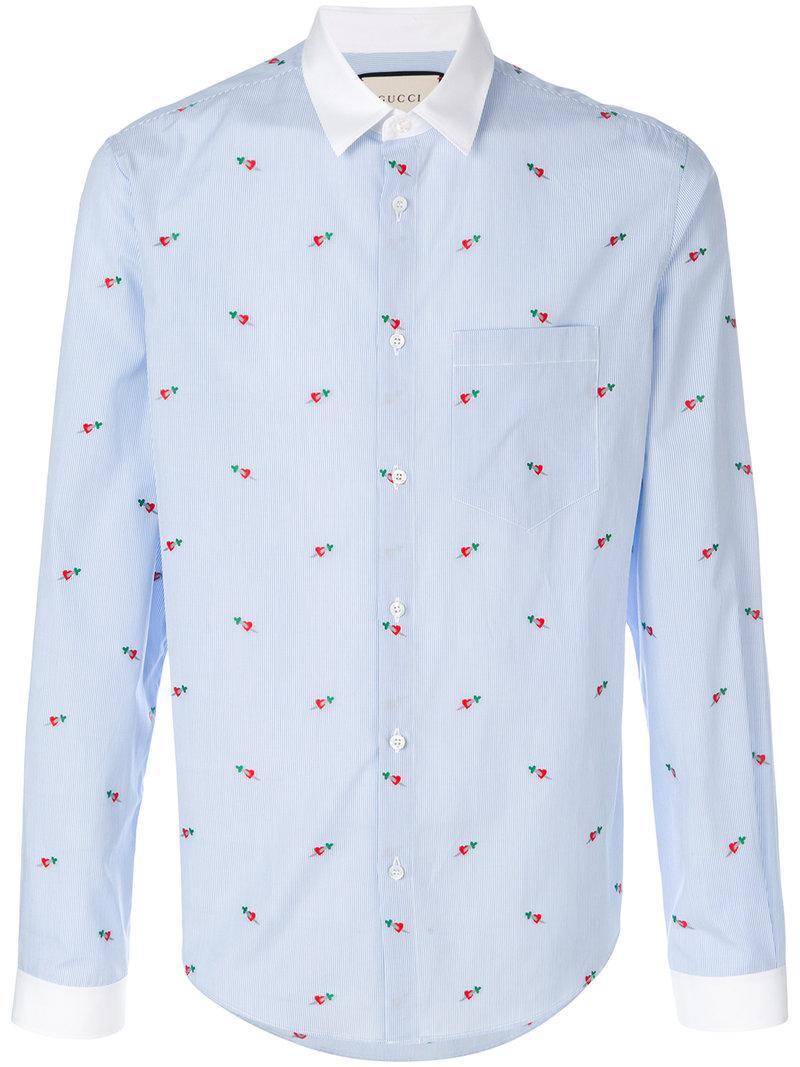 aa79dd12e Gucci Heart Fil Coupé Duke Shirt in Blue for Men - Lyst
