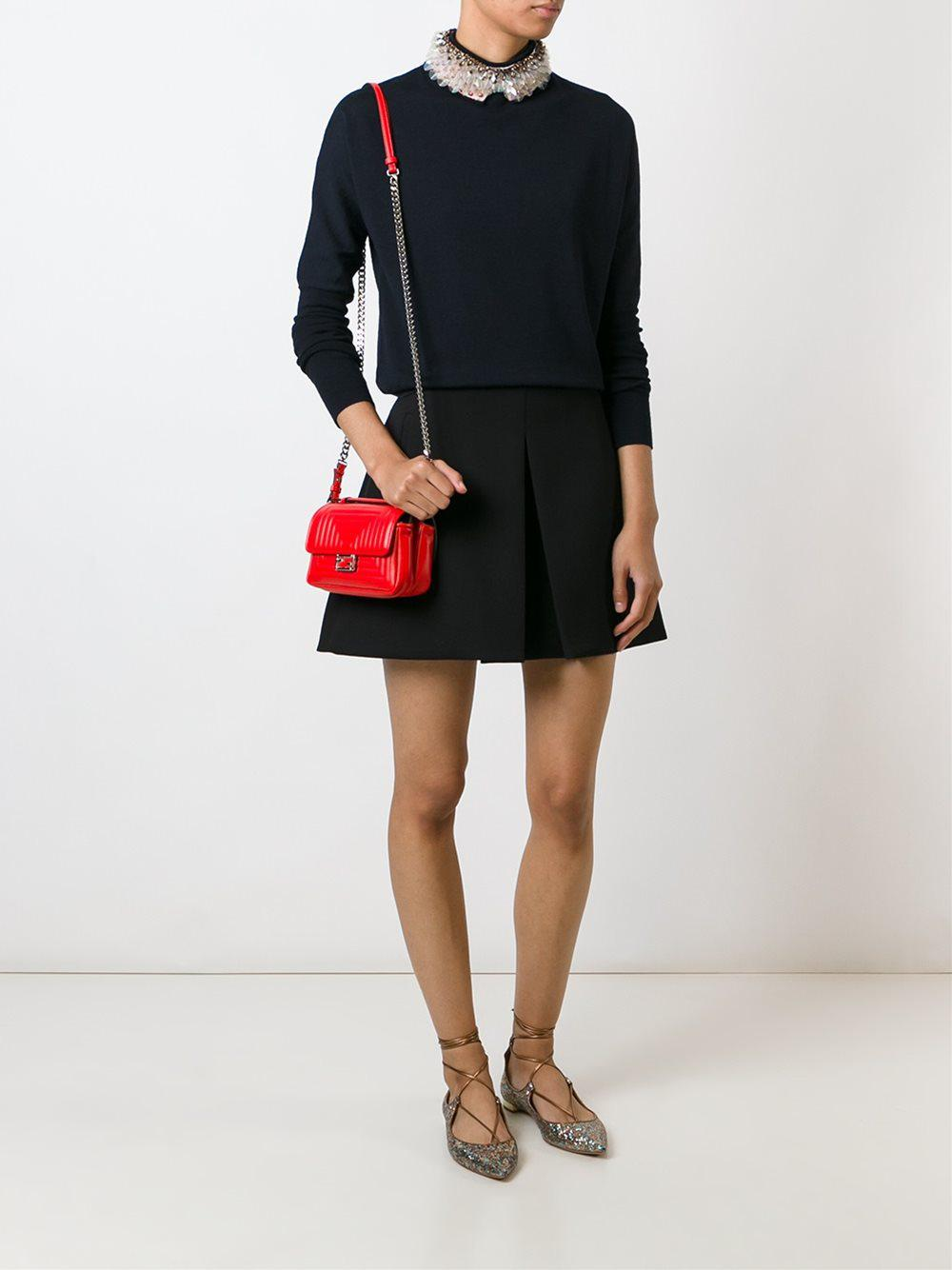 Fendi Micro 'double Baguette' Crossbody Bag in Red