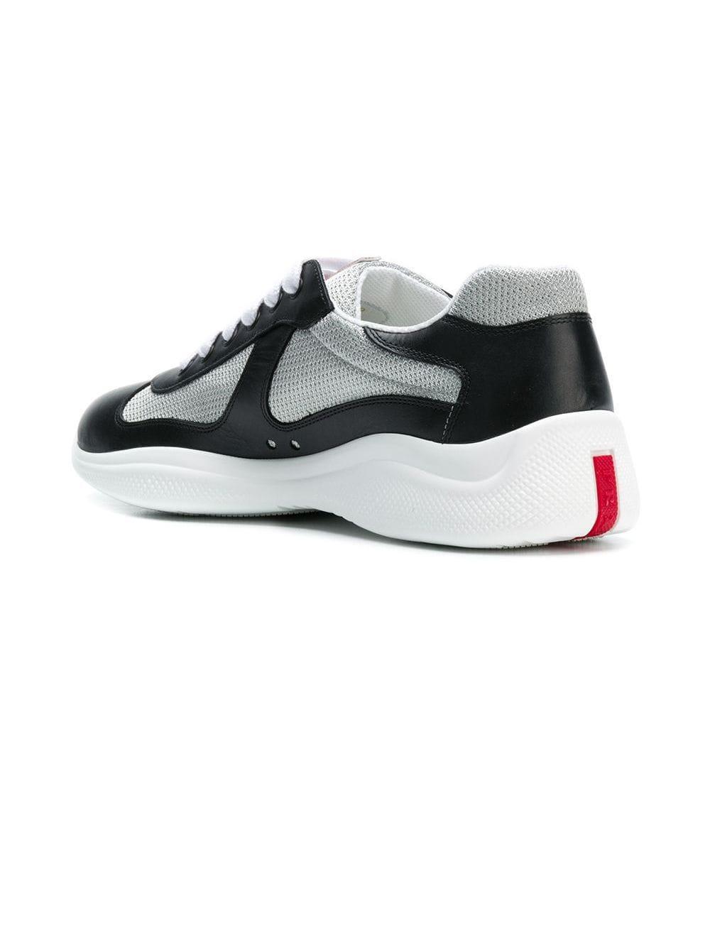 Prada Leer Color-block Lage Sneakers in het Zwart voor heren