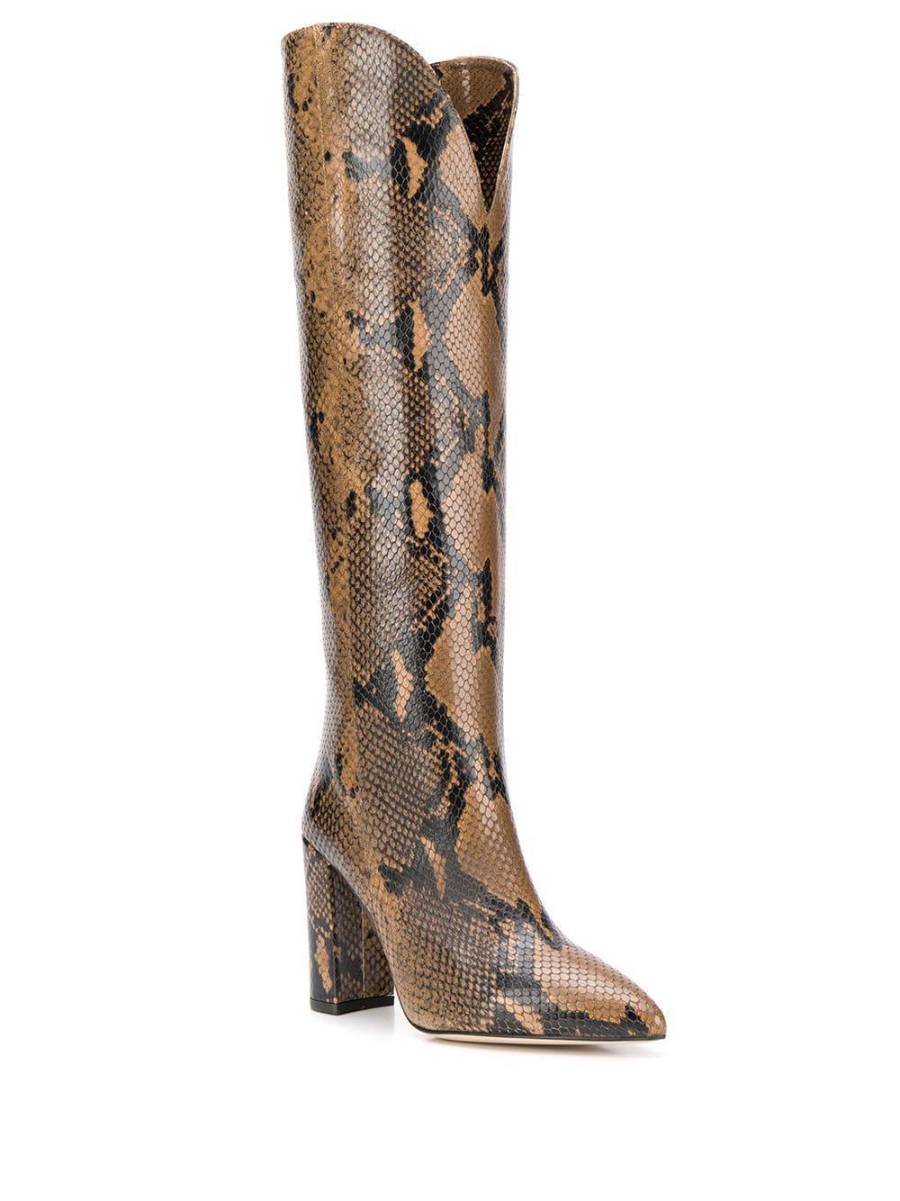 Botas con efecto de piel de pitón Paris Texas de color Marrón
