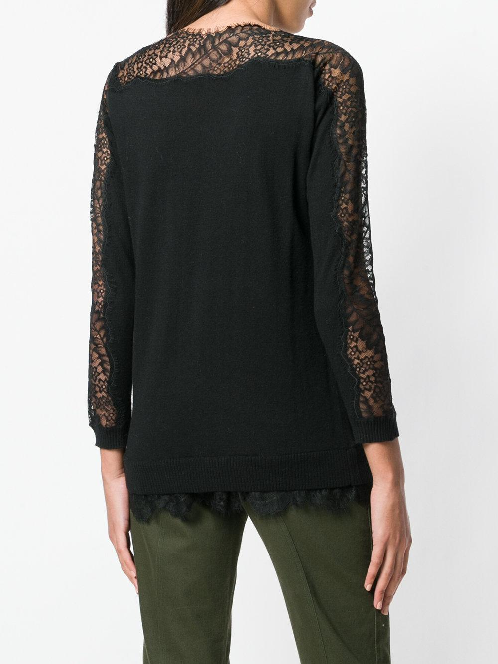 Twin Set Lace Knit Sweater in Black