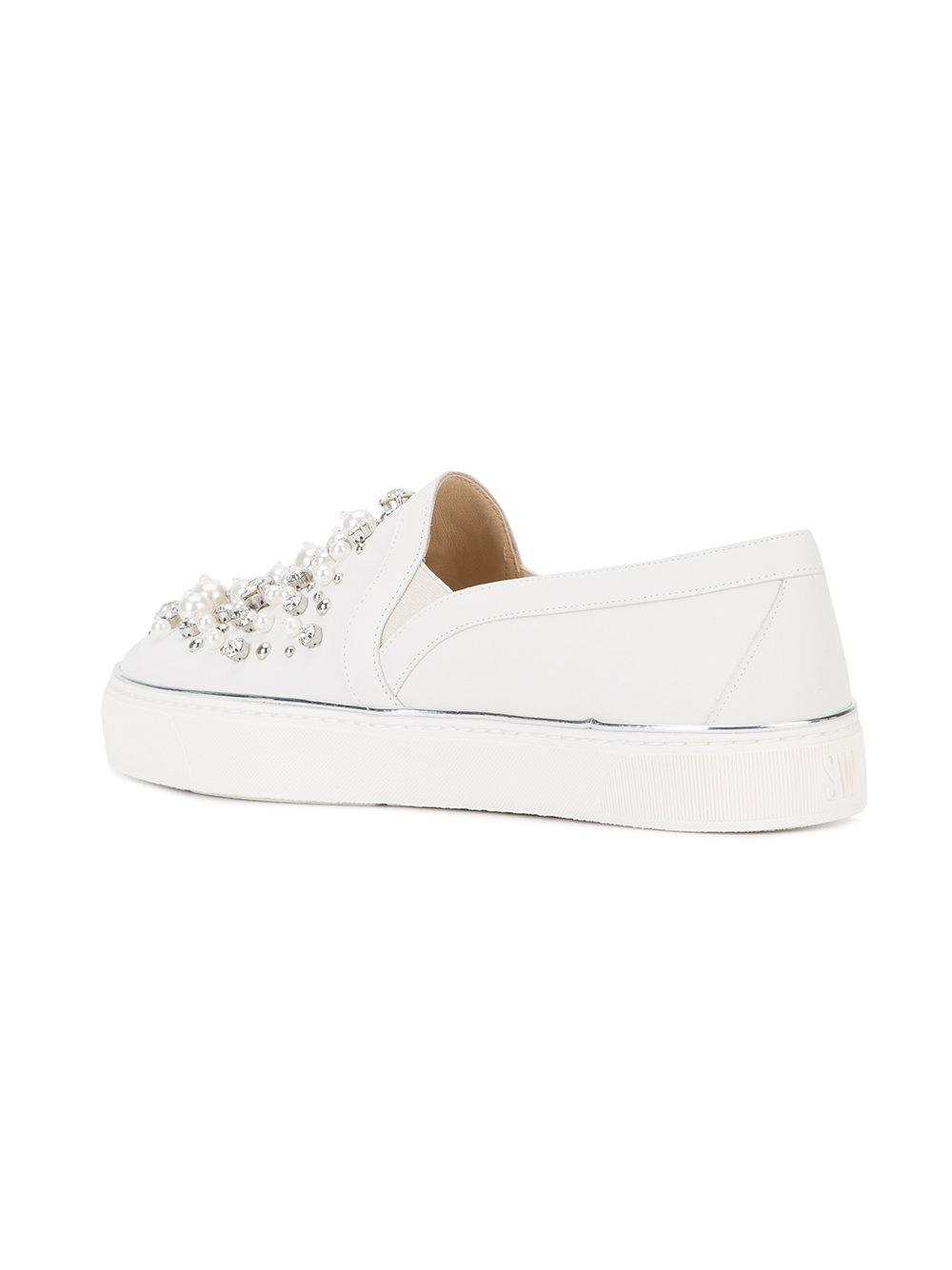 Stuart Weitzman Leather Embellished Sneakers in White