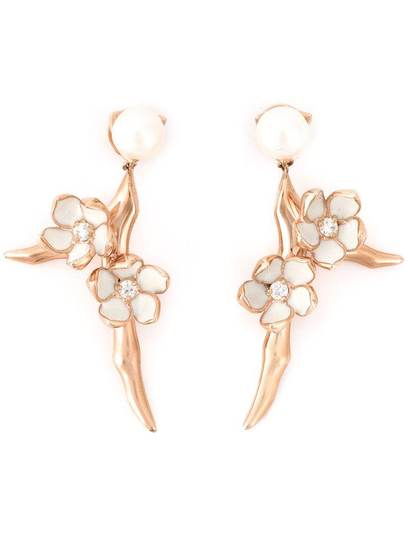 Shaun Leane Cherry Blossom diamond earrings - Metallic NbmhigOu