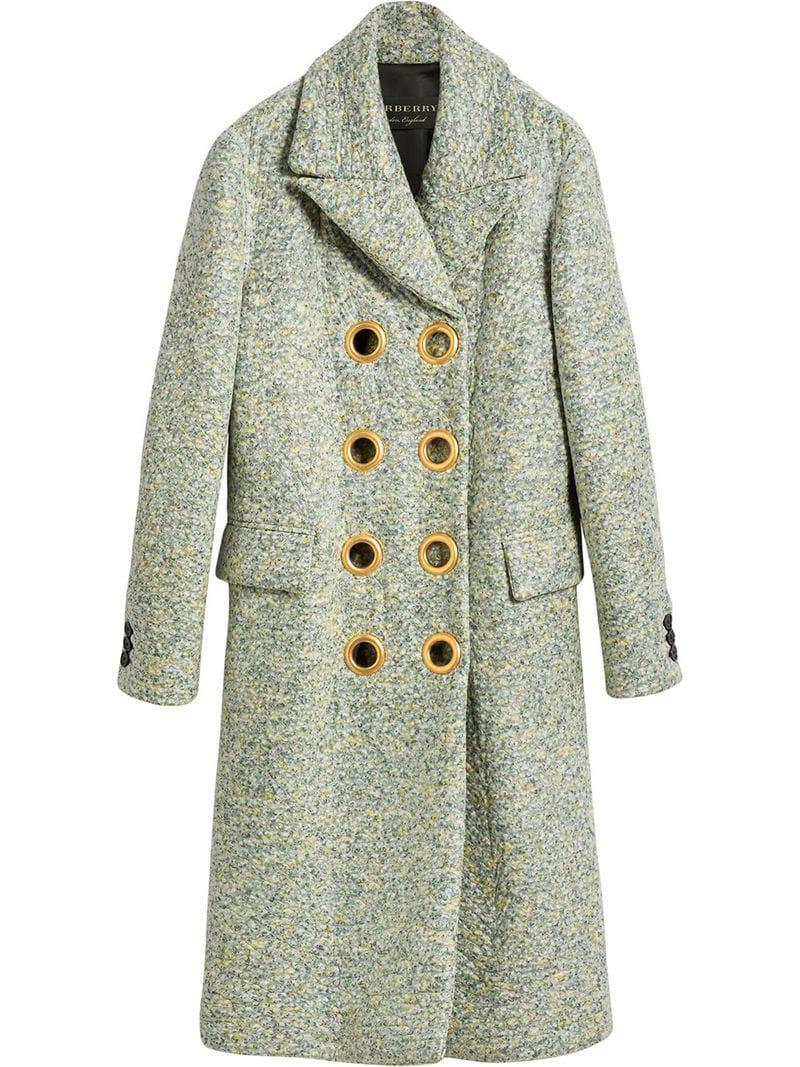 Breasted Laminated Double Burberry Lyst Green In Coat Cashmere qpUUnt