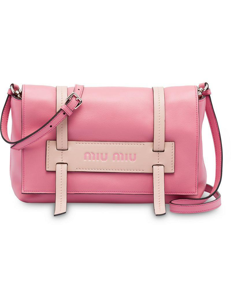 3090ef5b5ff0 Miu Miu Grace Lux Leather Shoulder Bag in Pink - Lyst