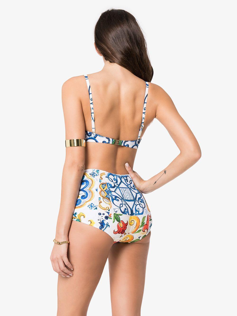 3f8f9f1372 Dolce   Gabbana - White High Waisted Majolica Print Bikini - Lyst. View  fullscreen