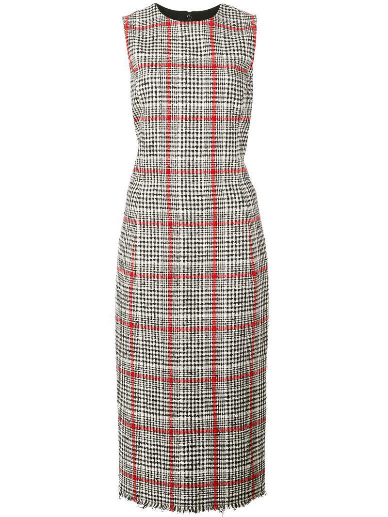 802ac3f388f Lyst - Oscar de la Renta Checked Midi Dress in Gray