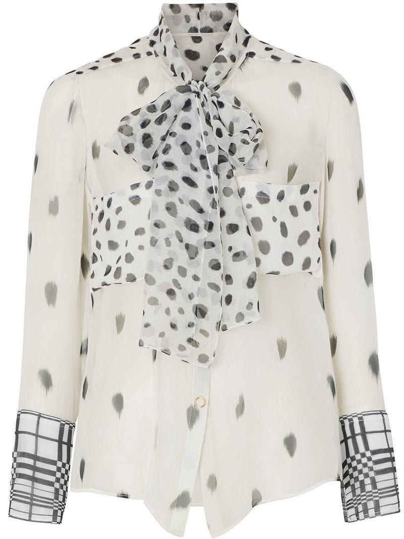 3bb31f7db613a Lyst - Burberry Dalmatian Print Pussy-bow Blouse in Black - Save 7%