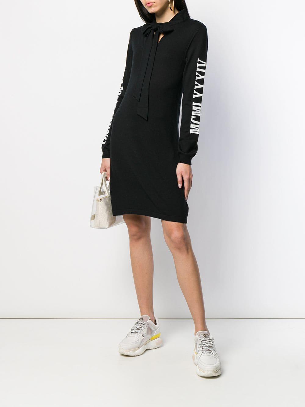 Vestido de punto con lazo en el cuello Moschino de Lana de color Negro