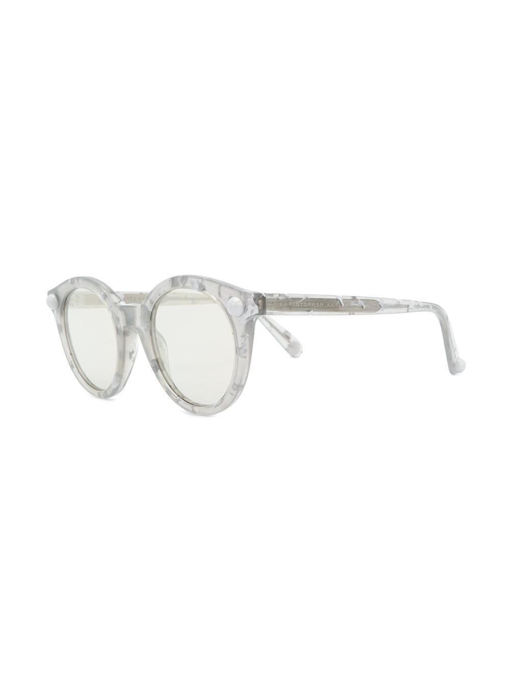 Christopher Kane Round Frame Marble-effect Sunglasses in Grey (Grey)