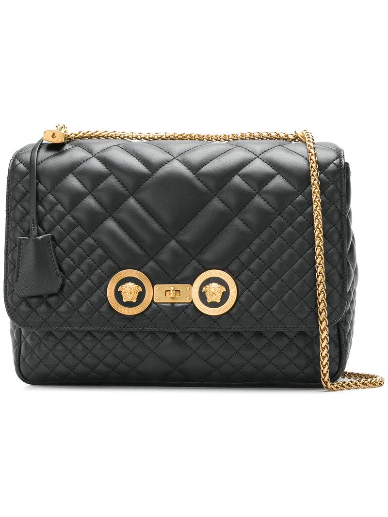 ae693fe4c5 Versace Icon Quilted Shoulder Bag in Black - Lyst