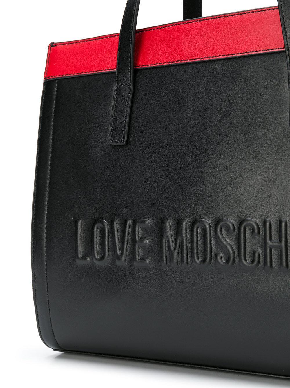 Love Moschino Logo Colour-block Tote in Black