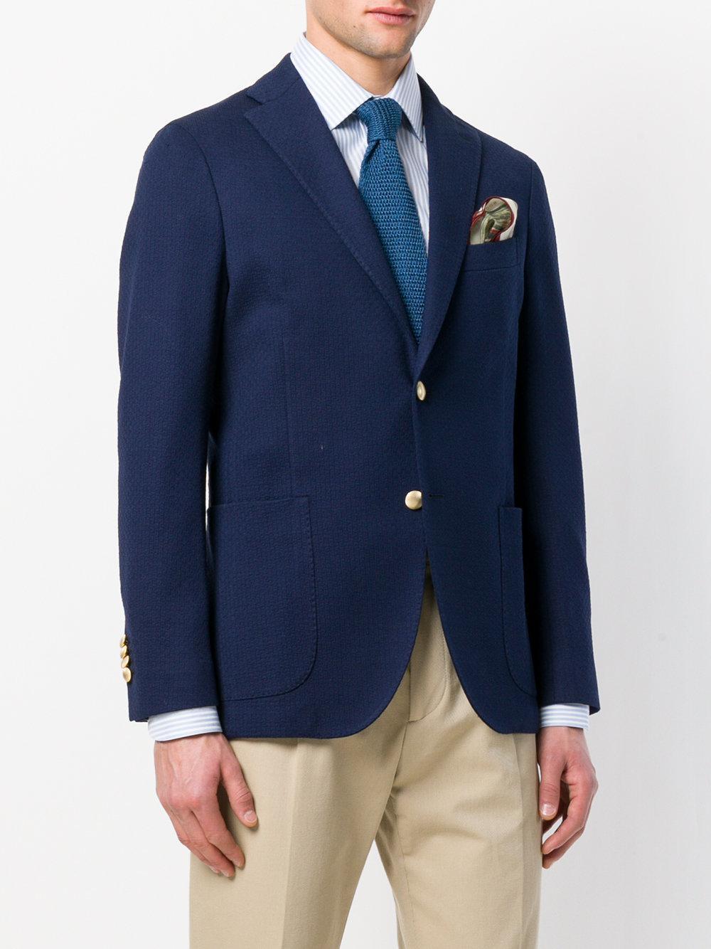 Boglioli Cotton Classic Buttoned Blazer in Blue for Men