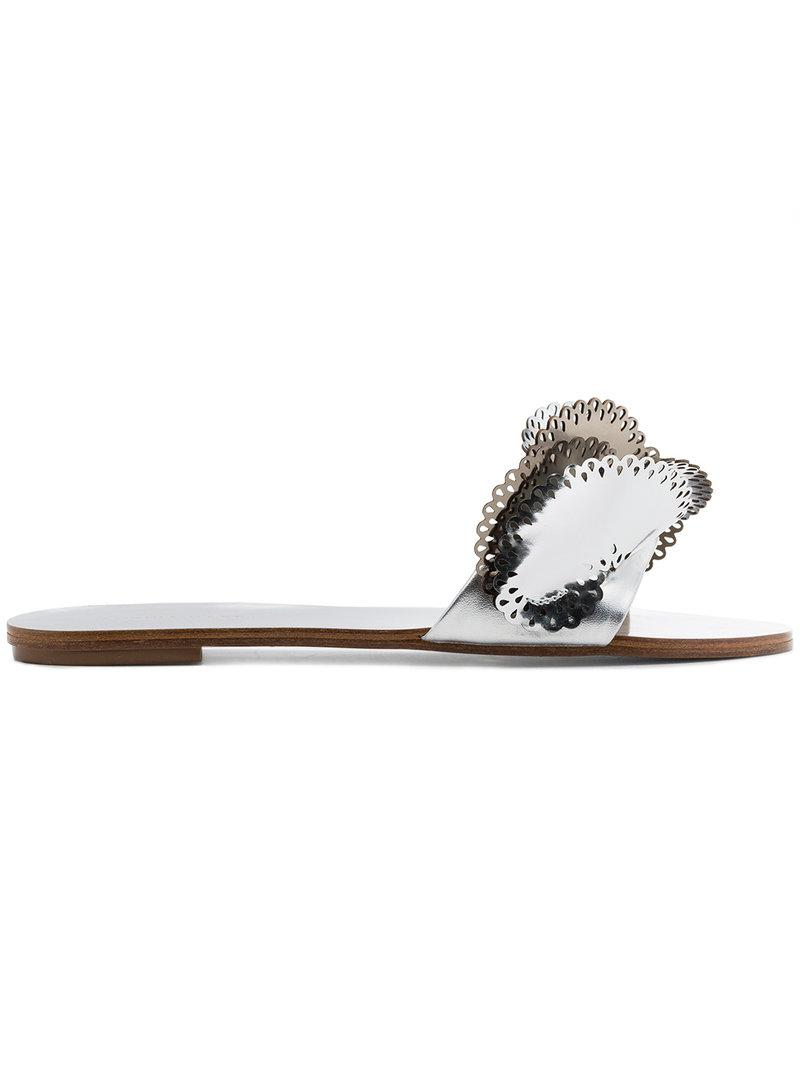 silver Soleil 10 Cutout Ruffle Leather Slides - Metallic Sophia Webster MnfShOdb
