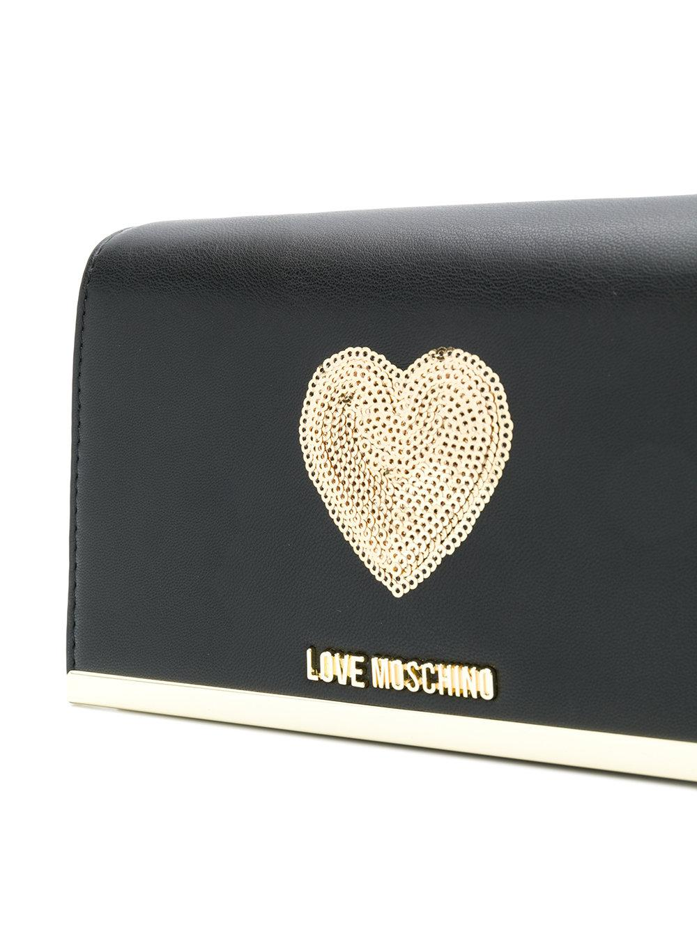 Love Moschino Heart-embellished Crossbody in Black