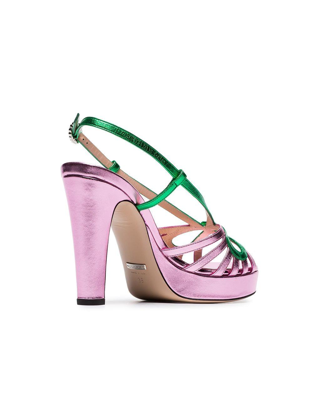 Gucci Metallic Leather Sandal In Pink Lyst