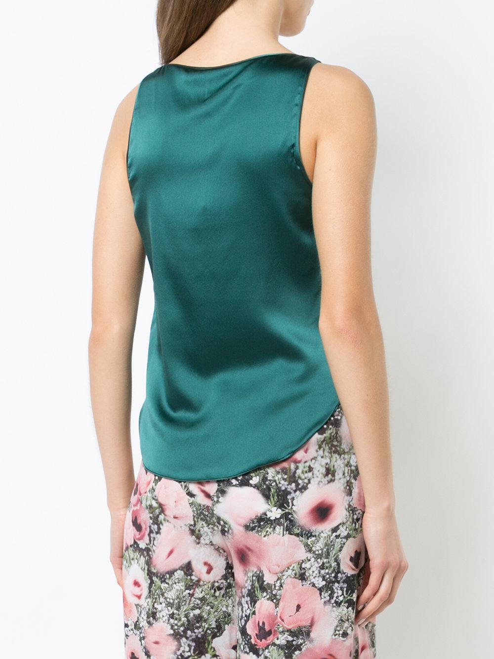 Fleur du Mal Satin Scoop Neck Cami Top in Green