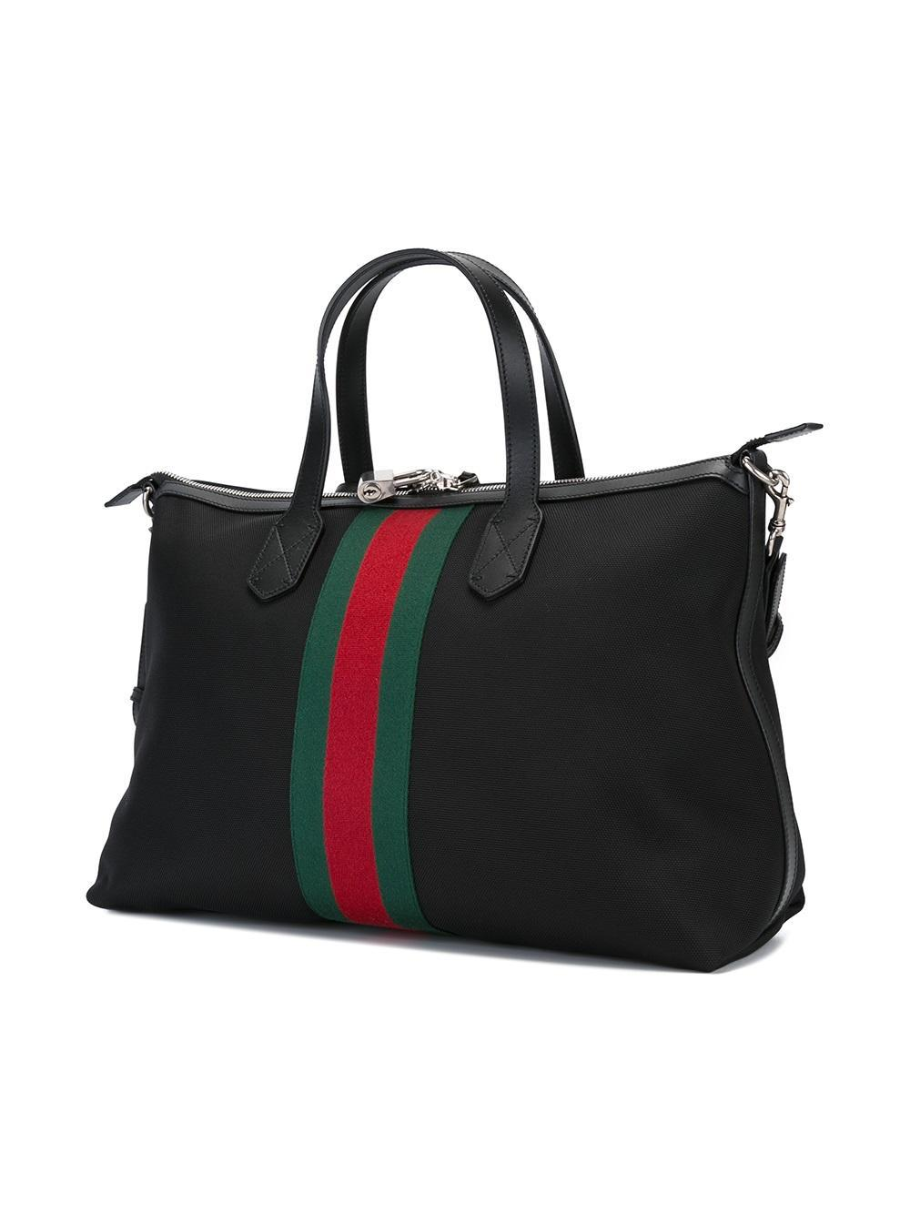 a375bdfbcb5 Gucci Webbing Stripe Holdall in Black for Men - Lyst
