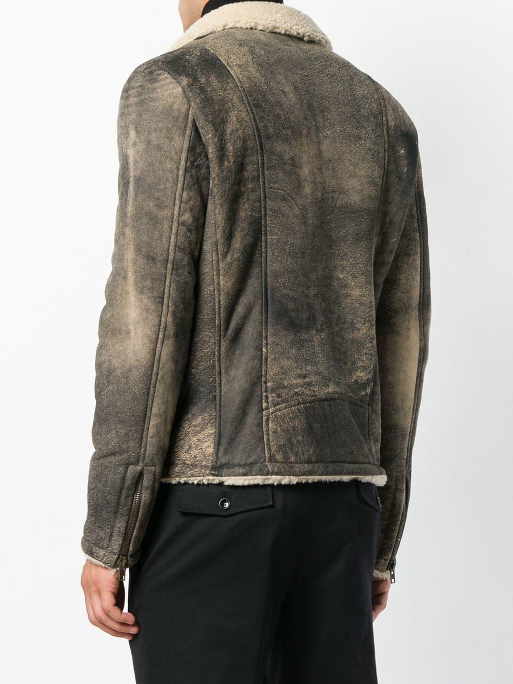 Salvatore Santoro Distressed Biker Jacket in Grey (Grey) for Men
