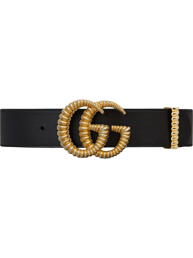 fc0a88de366 Lyst - Gucci Leather Belt With Torchon Double G Buckle in Black