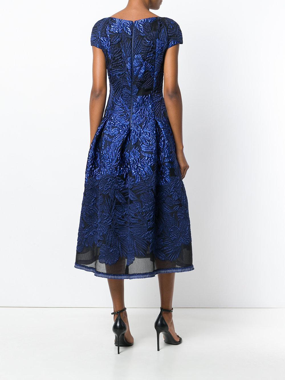 Talbot Runhof Silk Portsmith Dress In Blue Lyst