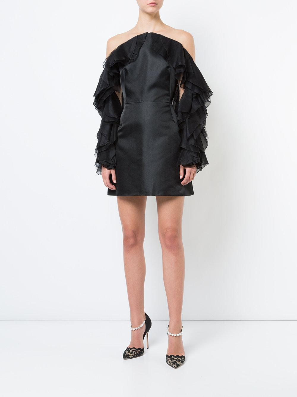 ruffle-sleeve fitted dress - Black Marchesa nNlVEfSc58