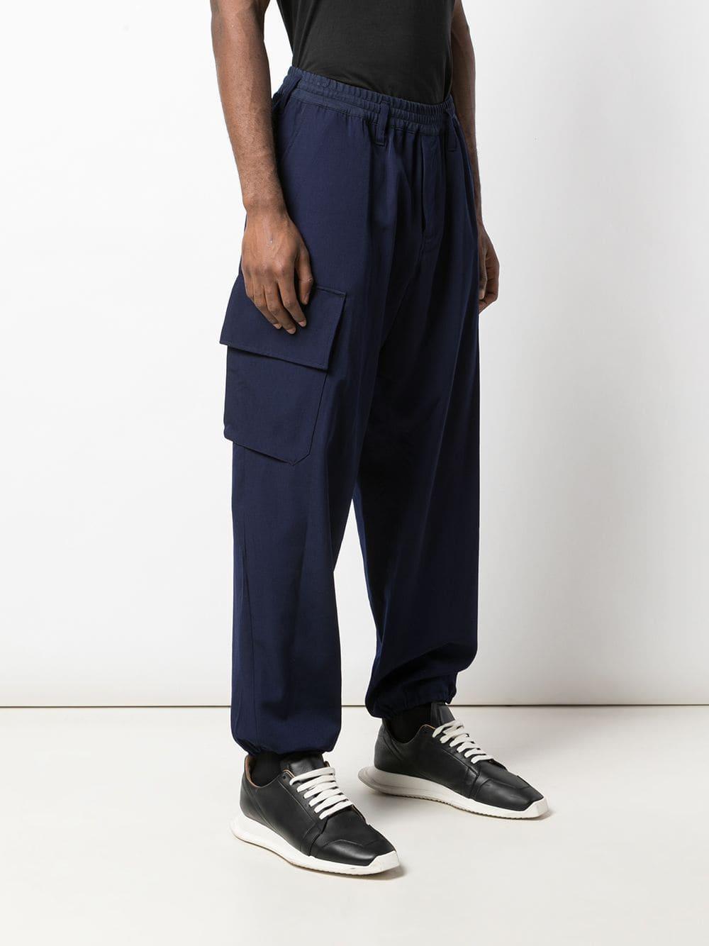 Yohji Yamamoto Wol Broek Met Geribbelde Taille in het Blauw voor heren