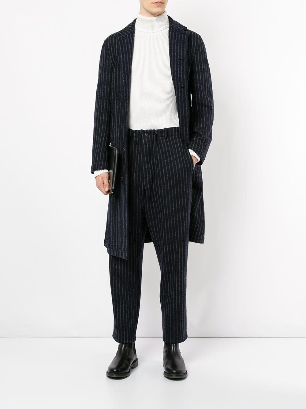 Forme D'expression Wool Pinstripe Trousers in Black for Men