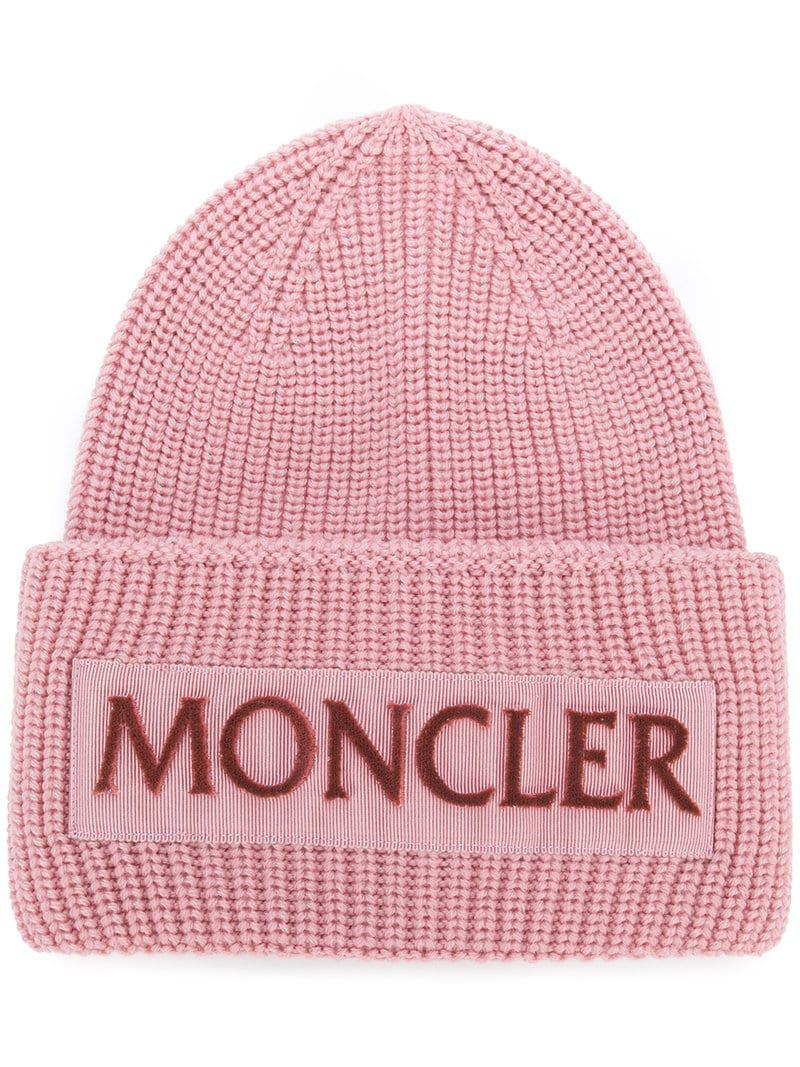 28e1fbf4f76 Moncler - Pink Rib Knit Logo Beanie - Lyst. View fullscreen