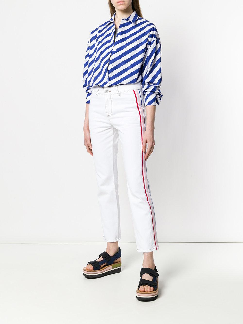 Jean droit à bandes appliquées Coton Être Cécile en coloris Blanc