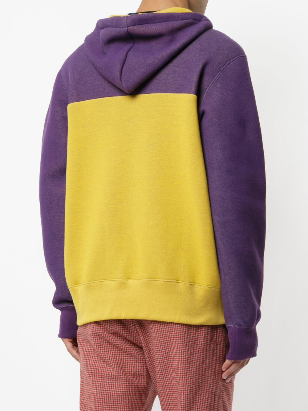 Sacai Cotton Colour Blocked Hoodie in Yellow & Orange (Yellow) for Men