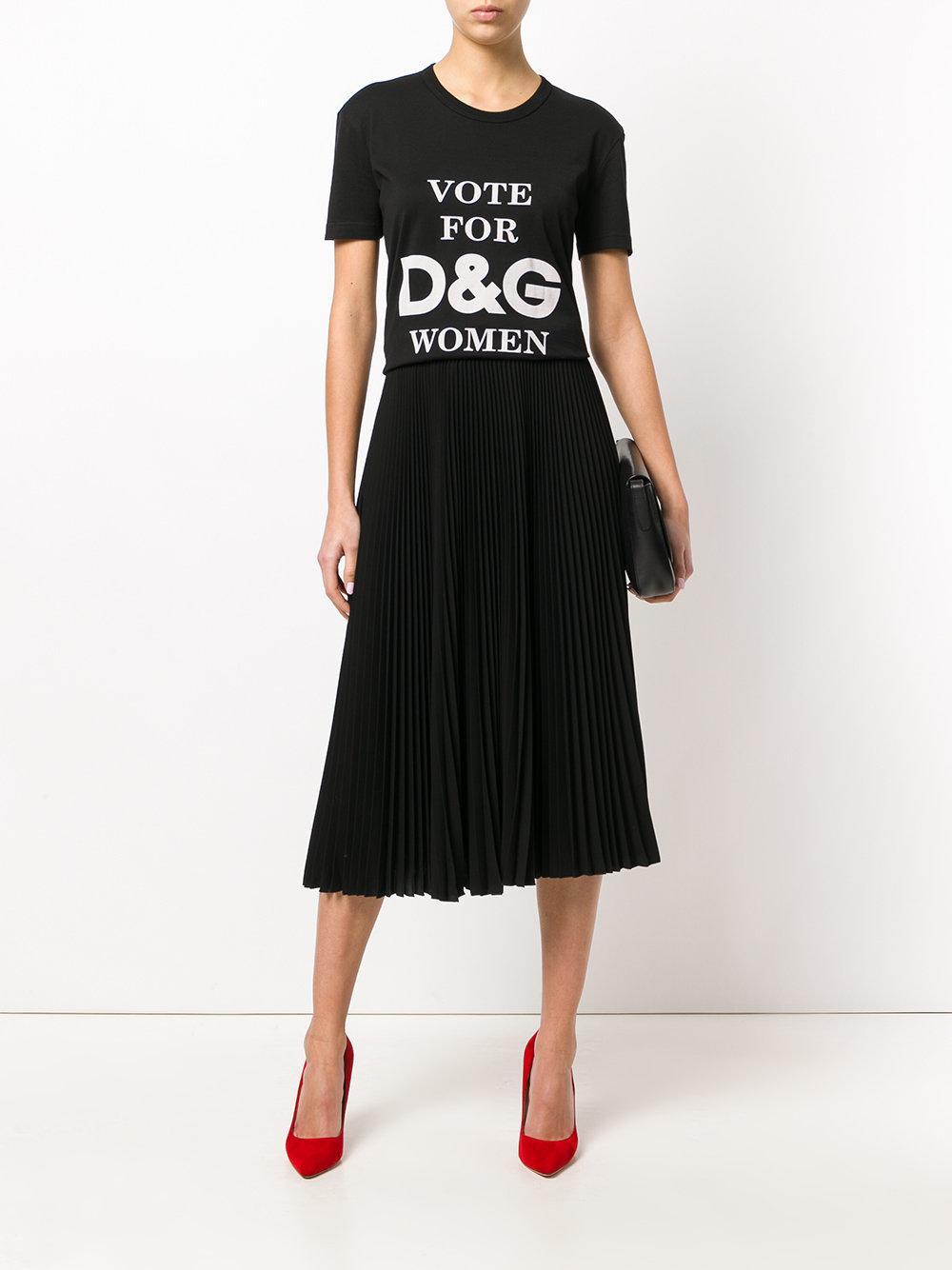 f1ca8359 Dolce & Gabbana Vote For Dg Women T-shirt in Black - Lyst