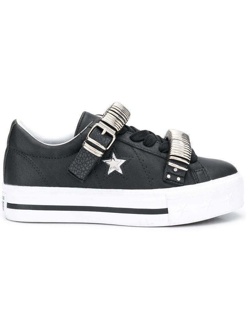 5c1d60bd5c922f Converse One Star Platform Sneakers in Black - Lyst