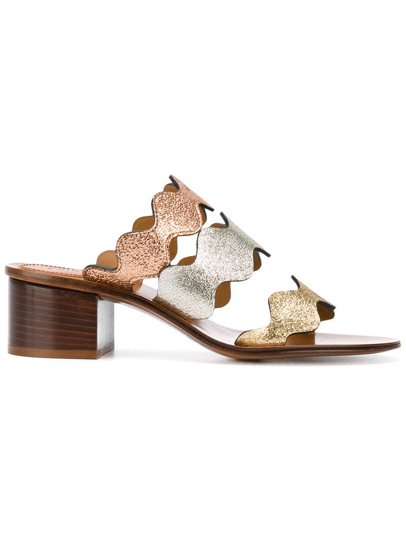 c05e80fd2 Chloé Lauren Mule Sandals in Metallic - Lyst