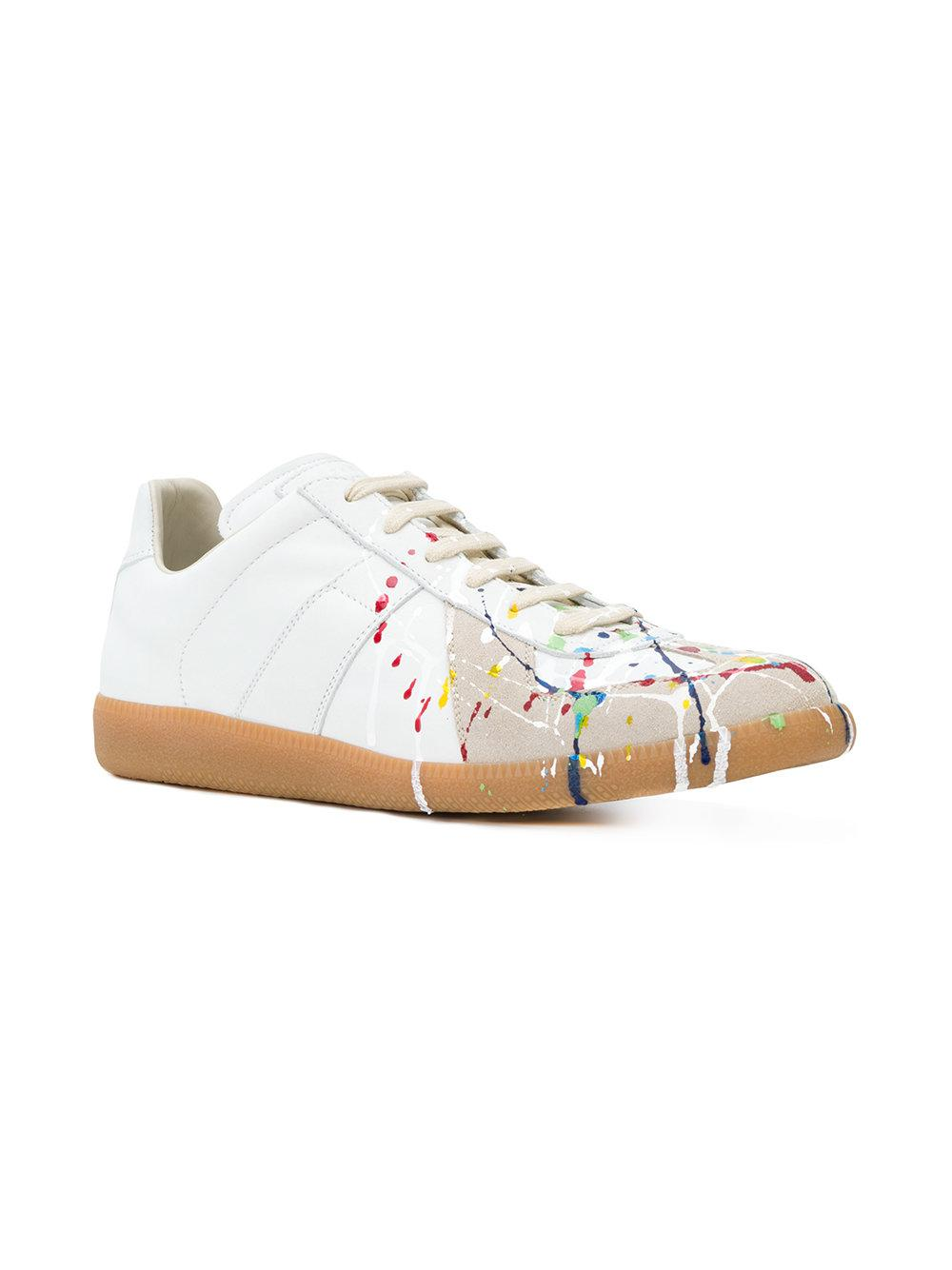 ac1a8ff89335 Lyst - Maison Margiela Paint Splatter Sneakers in White for Men - Save 16%
