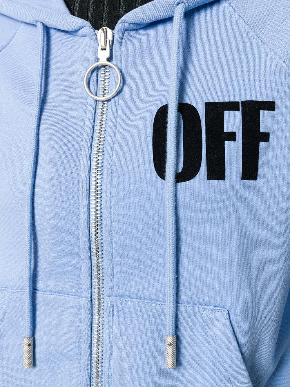 lyst off white c o virgil abloh global warming hoodie in blue. Black Bedroom Furniture Sets. Home Design Ideas