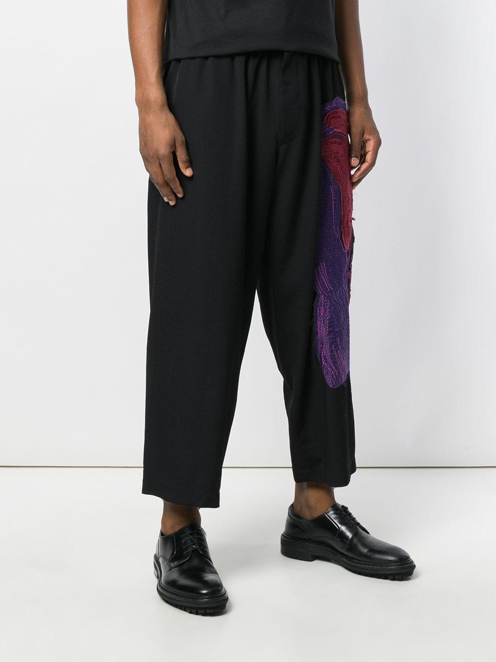 Yohji Yamamoto Wool Loose Fit Logoed Trousers in Blue for Men