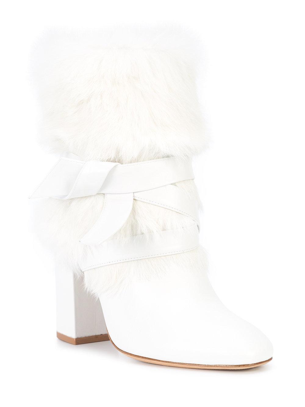 Alexandre Birman Suede Wrap Around Tie Boots in White
